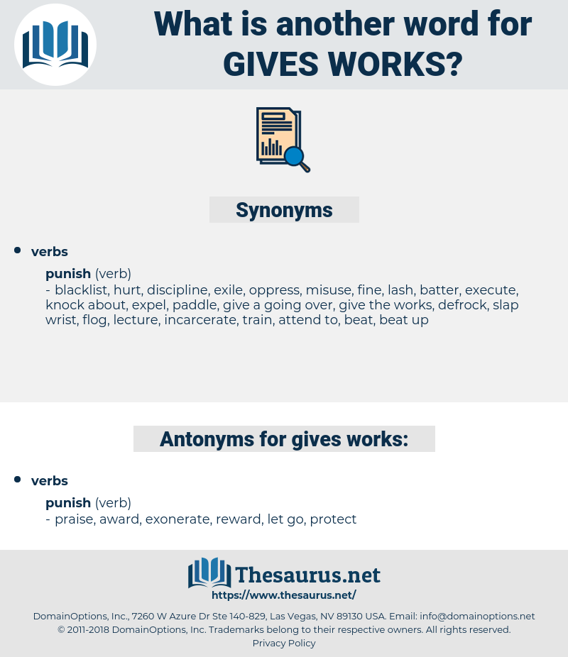 gives works, synonym gives works, another word for gives works, words like gives works, thesaurus gives works