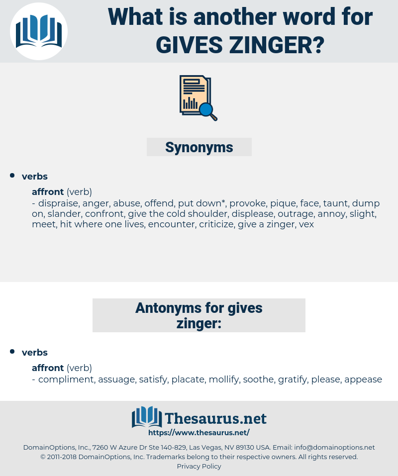 gives zinger, synonym gives zinger, another word for gives zinger, words like gives zinger, thesaurus gives zinger