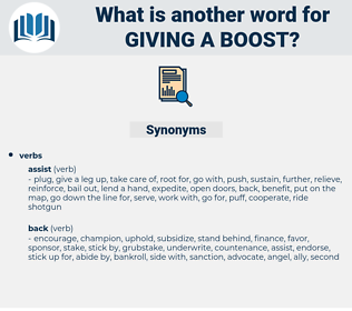 giving a boost, synonym giving a boost, another word for giving a boost, words like giving a boost, thesaurus giving a boost