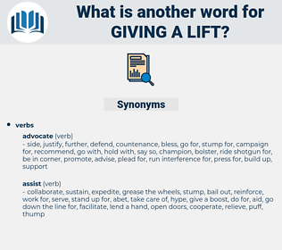 giving a lift, synonym giving a lift, another word for giving a lift, words like giving a lift, thesaurus giving a lift