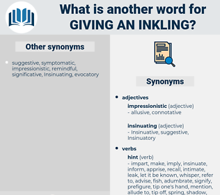 giving an inkling, synonym giving an inkling, another word for giving an inkling, words like giving an inkling, thesaurus giving an inkling