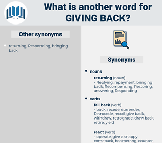 giving back, synonym giving back, another word for giving back, words like giving back, thesaurus giving back