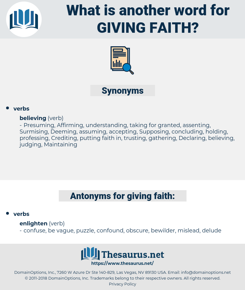 giving faith, synonym giving faith, another word for giving faith, words like giving faith, thesaurus giving faith