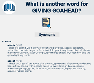 giving goahead, synonym giving goahead, another word for giving goahead, words like giving goahead, thesaurus giving goahead