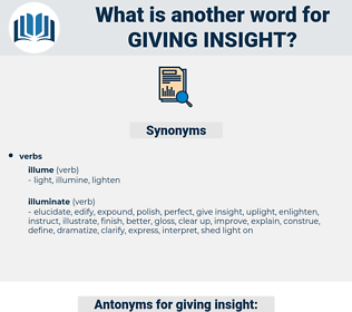 giving insight, synonym giving insight, another word for giving insight, words like giving insight, thesaurus giving insight