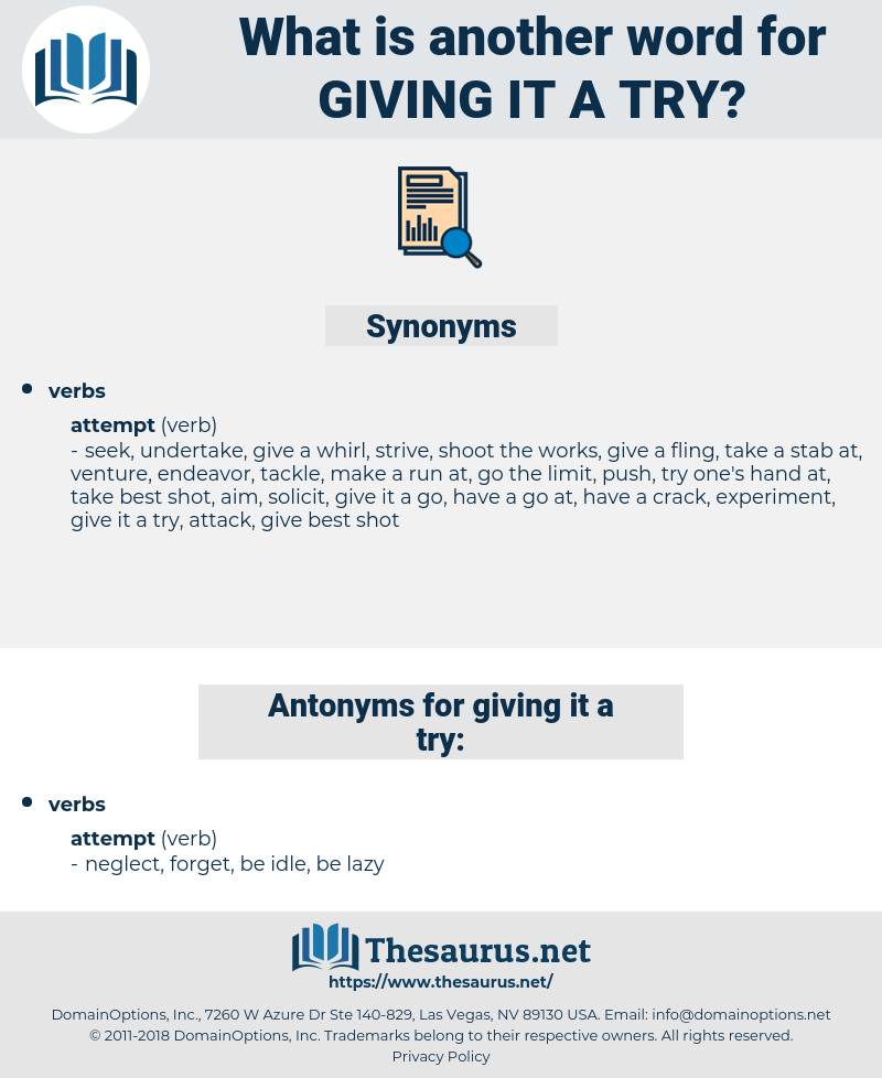 giving it a try, synonym giving it a try, another word for giving it a try, words like giving it a try, thesaurus giving it a try