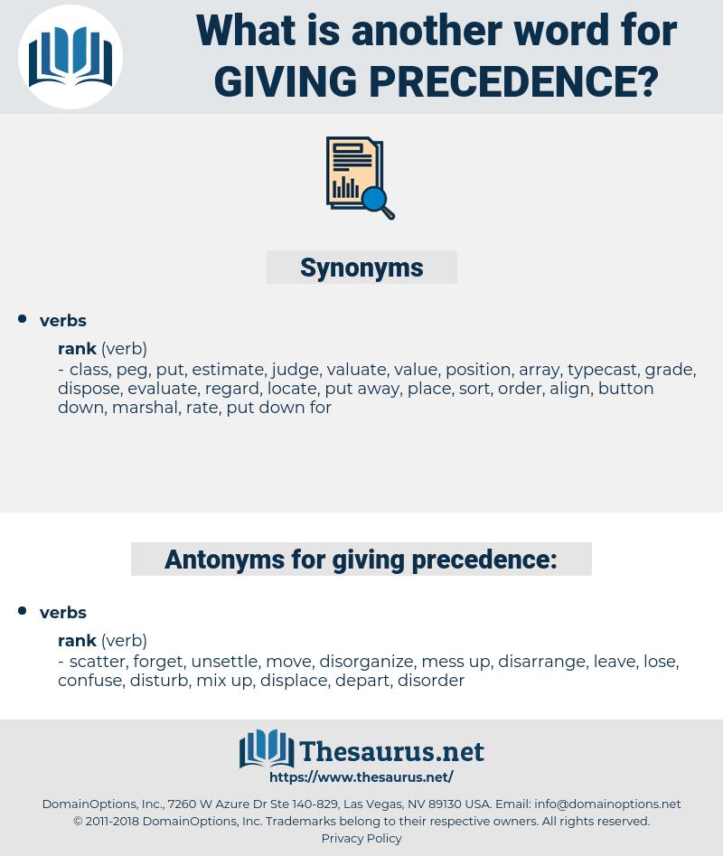 giving precedence, synonym giving precedence, another word for giving precedence, words like giving precedence, thesaurus giving precedence
