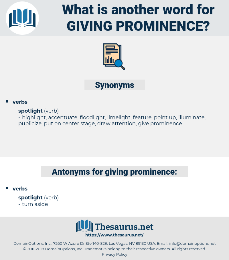 giving prominence, synonym giving prominence, another word for giving prominence, words like giving prominence, thesaurus giving prominence