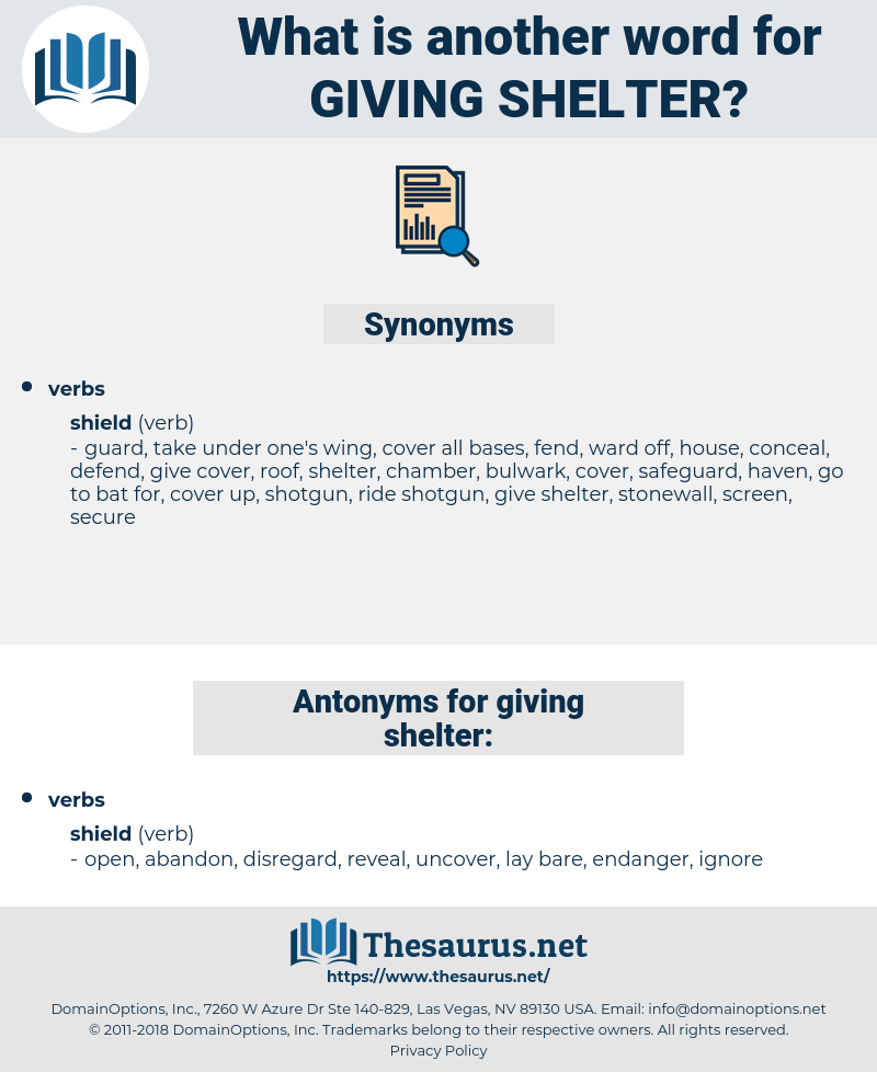 giving shelter, synonym giving shelter, another word for giving shelter, words like giving shelter, thesaurus giving shelter