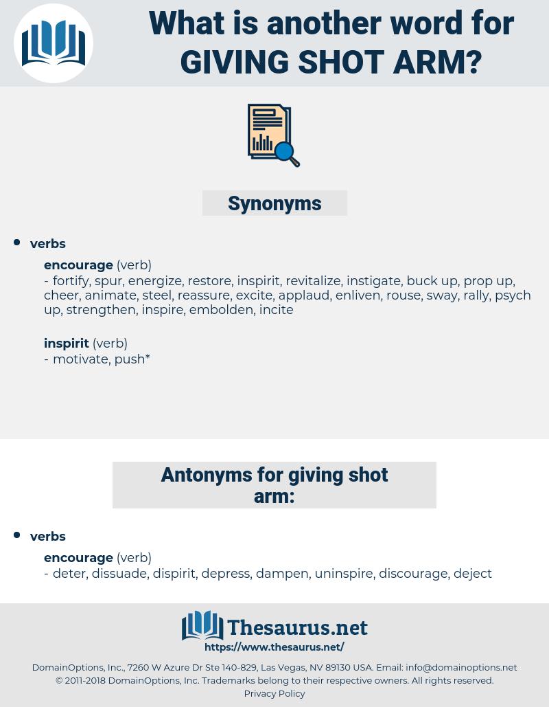 giving shot arm, synonym giving shot arm, another word for giving shot arm, words like giving shot arm, thesaurus giving shot arm