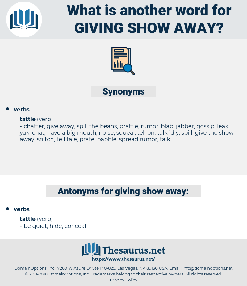 giving show away, synonym giving show away, another word for giving show away, words like giving show away, thesaurus giving show away