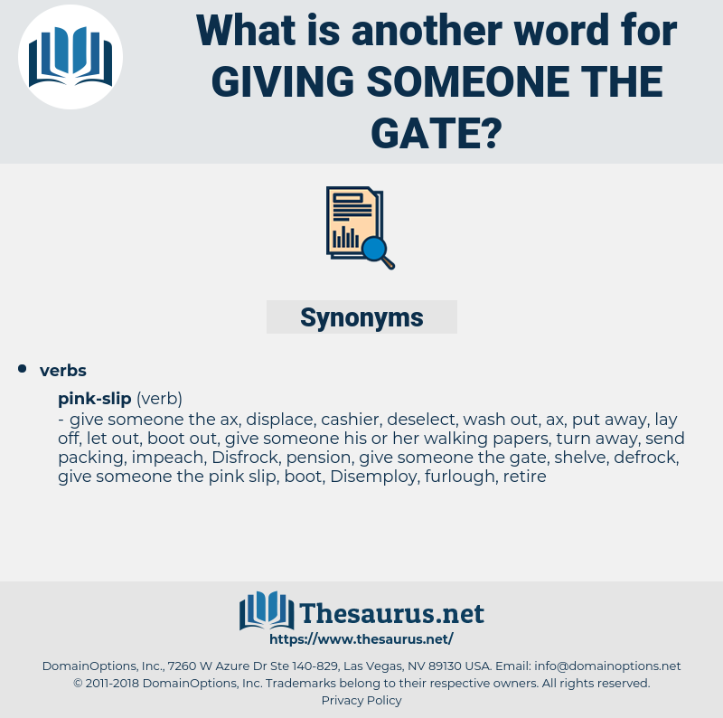 giving someone the gate, synonym giving someone the gate, another word for giving someone the gate, words like giving someone the gate, thesaurus giving someone the gate
