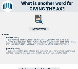 giving the ax, synonym giving the ax, another word for giving the ax, words like giving the ax, thesaurus giving the ax