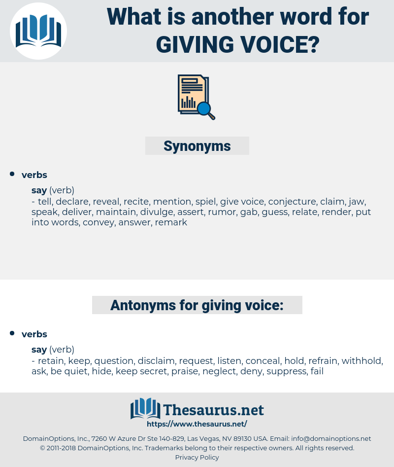 giving voice, synonym giving voice, another word for giving voice, words like giving voice, thesaurus giving voice