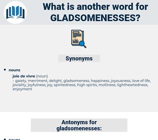 gladsomenesses, synonym gladsomenesses, another word for gladsomenesses, words like gladsomenesses, thesaurus gladsomenesses