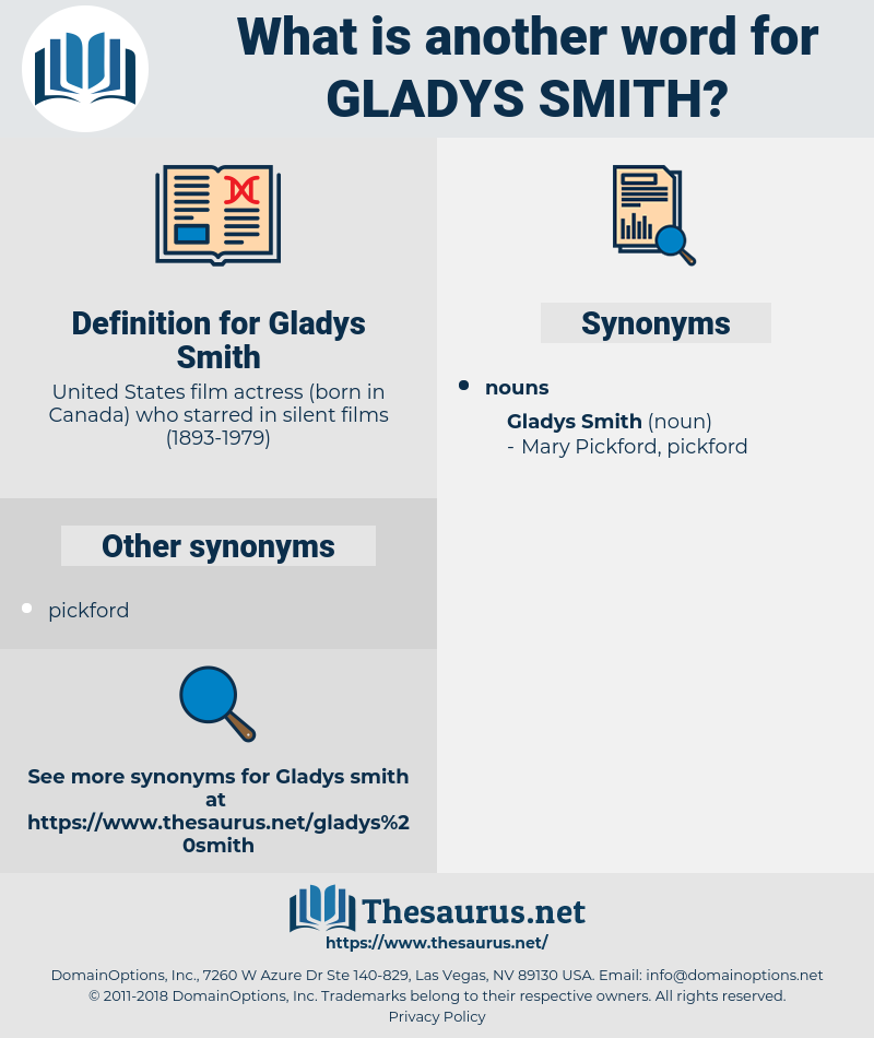 Gladys Smith, synonym Gladys Smith, another word for Gladys Smith, words like Gladys Smith, thesaurus Gladys Smith