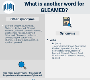 Gleamed, synonym Gleamed, another word for Gleamed, words like Gleamed, thesaurus Gleamed