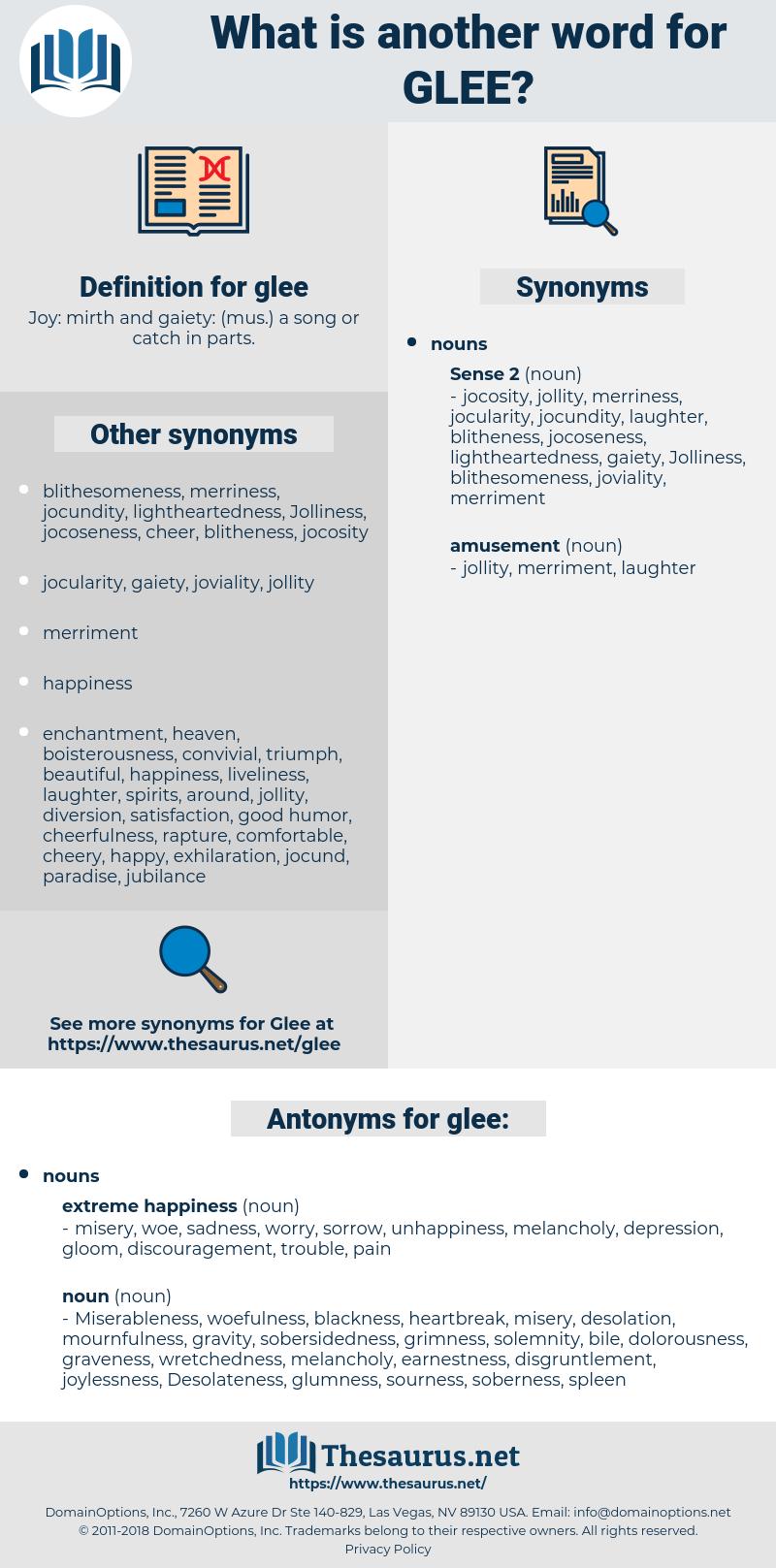 glee, synonym glee, another word for glee, words like glee, thesaurus glee