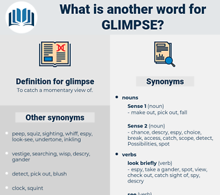 glimpse, synonym glimpse, another word for glimpse, words like glimpse, thesaurus glimpse