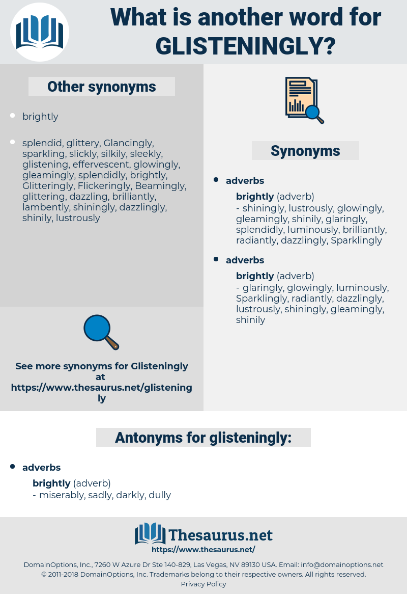 glisteningly, synonym glisteningly, another word for glisteningly, words like glisteningly, thesaurus glisteningly
