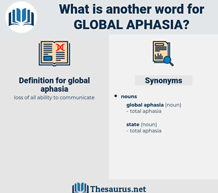 global aphasia, synonym global aphasia, another word for global aphasia, words like global aphasia, thesaurus global aphasia