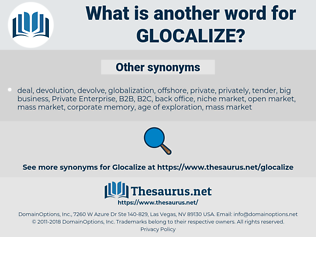 glocalize, synonym glocalize, another word for glocalize, words like glocalize, thesaurus glocalize