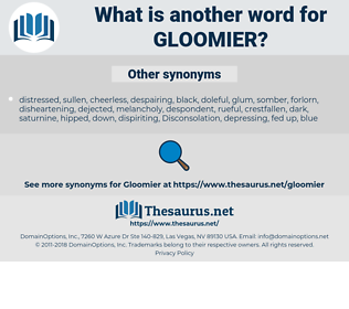 gloomier, synonym gloomier, another word for gloomier, words like gloomier, thesaurus gloomier