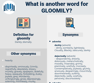 gloomily, synonym gloomily, another word for gloomily, words like gloomily, thesaurus gloomily