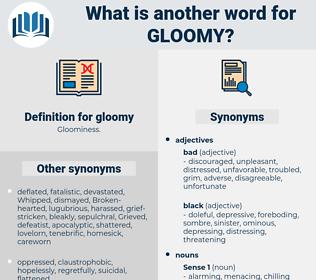 gloomy, synonym gloomy, another word for gloomy, words like gloomy, thesaurus gloomy
