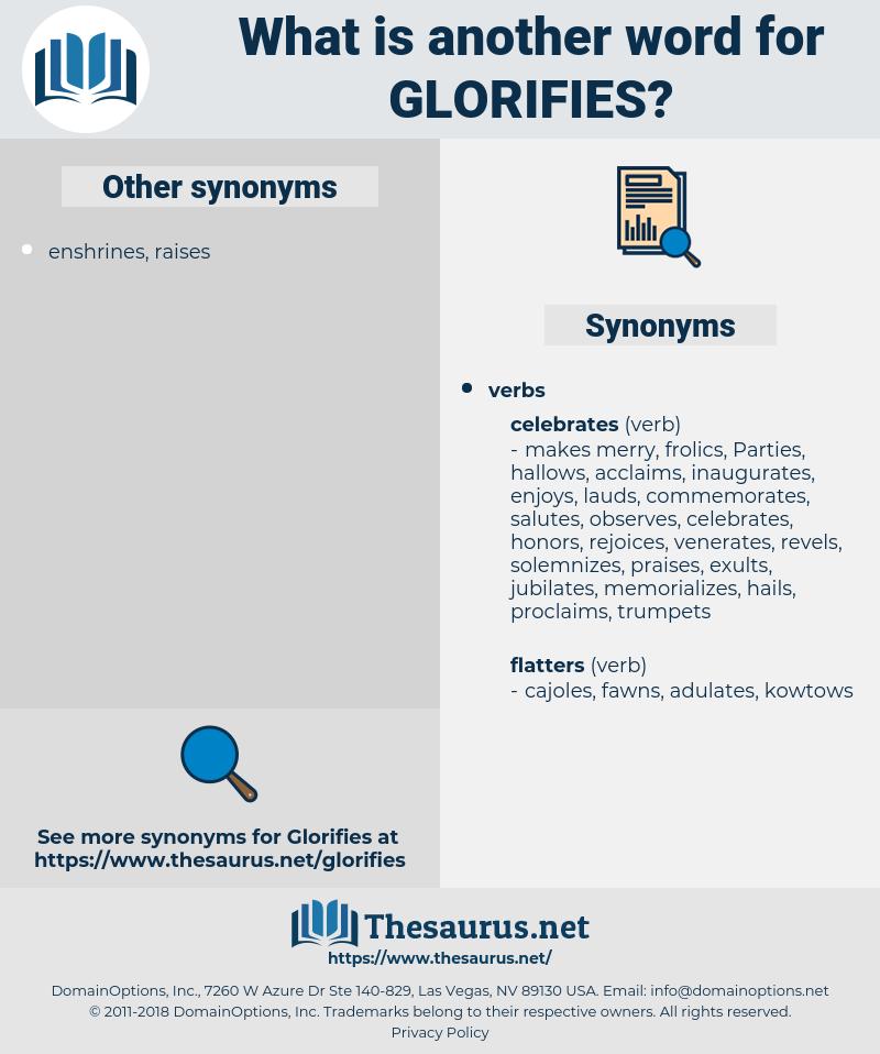 glorifies, synonym glorifies, another word for glorifies, words like glorifies, thesaurus glorifies