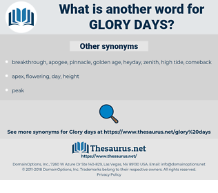 glory days, synonym glory days, another word for glory days, words like glory days, thesaurus glory days