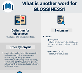 glossiness, synonym glossiness, another word for glossiness, words like glossiness, thesaurus glossiness