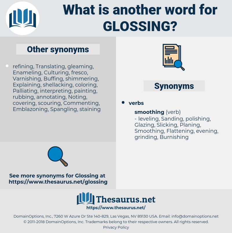 Glossing, synonym Glossing, another word for Glossing, words like Glossing, thesaurus Glossing