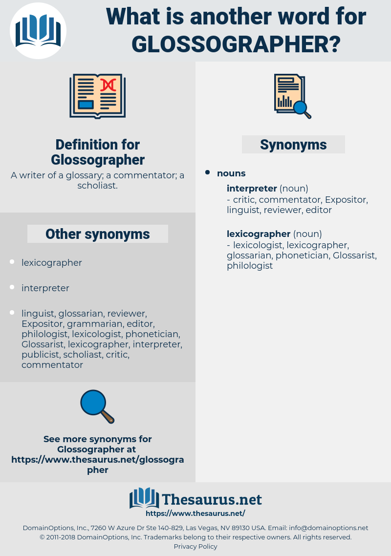 Glossographer, synonym Glossographer, another word for Glossographer, words like Glossographer, thesaurus Glossographer
