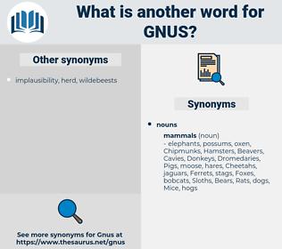 gnus, synonym gnus, another word for gnus, words like gnus, thesaurus gnus