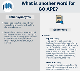 go ape, synonym go ape, another word for go ape, words like go ape, thesaurus go ape