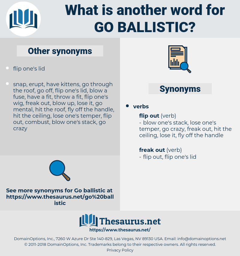 go ballistic, synonym go ballistic, another word for go ballistic, words like go ballistic, thesaurus go ballistic