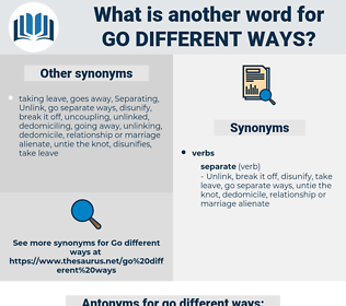 go different ways, synonym go different ways, another word for go different ways, words like go different ways, thesaurus go different ways