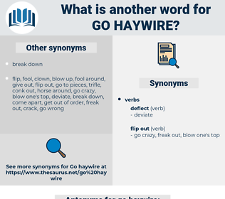 go haywire, synonym go haywire, another word for go haywire, words like go haywire, thesaurus go haywire