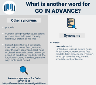 go in advance, synonym go in advance, another word for go in advance, words like go in advance, thesaurus go in advance