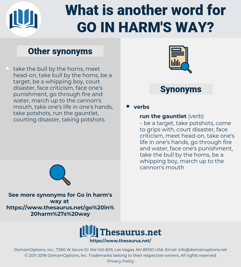 go in harm's way, synonym go in harm's way, another word for go in harm's way, words like go in harm's way, thesaurus go in harm's way