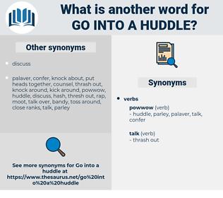 go into a huddle, synonym go into a huddle, another word for go into a huddle, words like go into a huddle, thesaurus go into a huddle