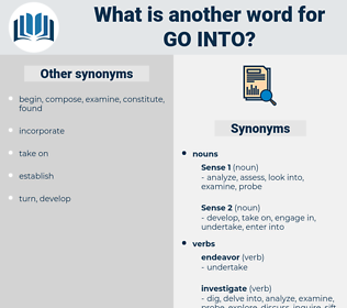 go into, synonym go into, another word for go into, words like go into, thesaurus go into