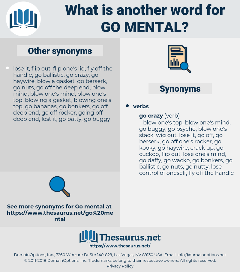 go mental, synonym go mental, another word for go mental, words like go mental, thesaurus go mental