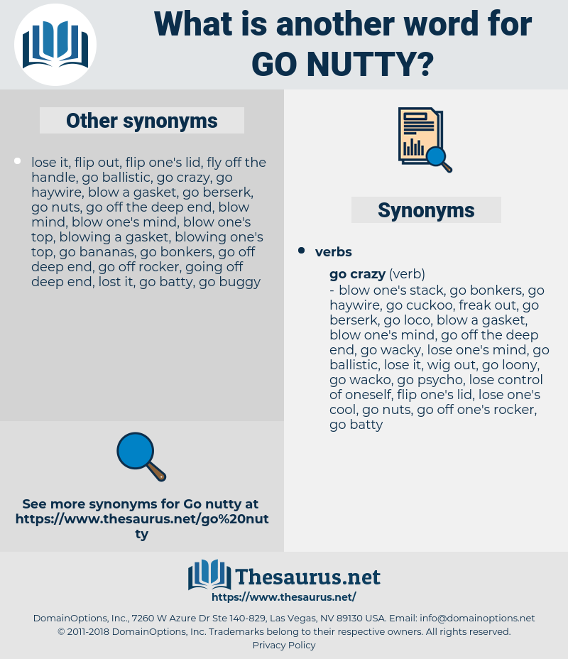 go nutty, synonym go nutty, another word for go nutty, words like go nutty, thesaurus go nutty