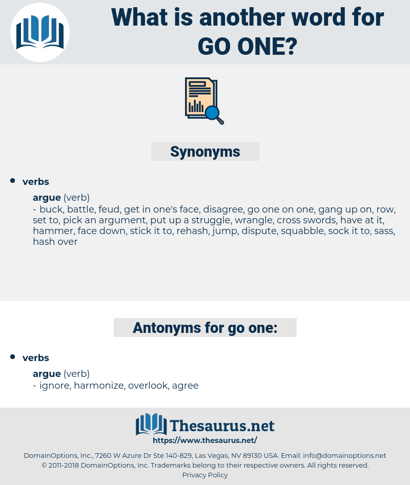 go one, synonym go one, another word for go one, words like go one, thesaurus go one