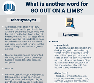 go out on a limb, synonym go out on a limb, another word for go out on a limb, words like go out on a limb, thesaurus go out on a limb