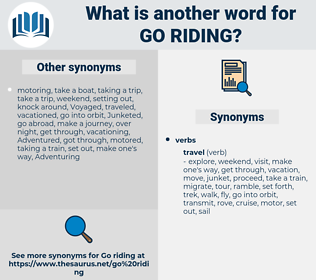 go riding, synonym go riding, another word for go riding, words like go riding, thesaurus go riding