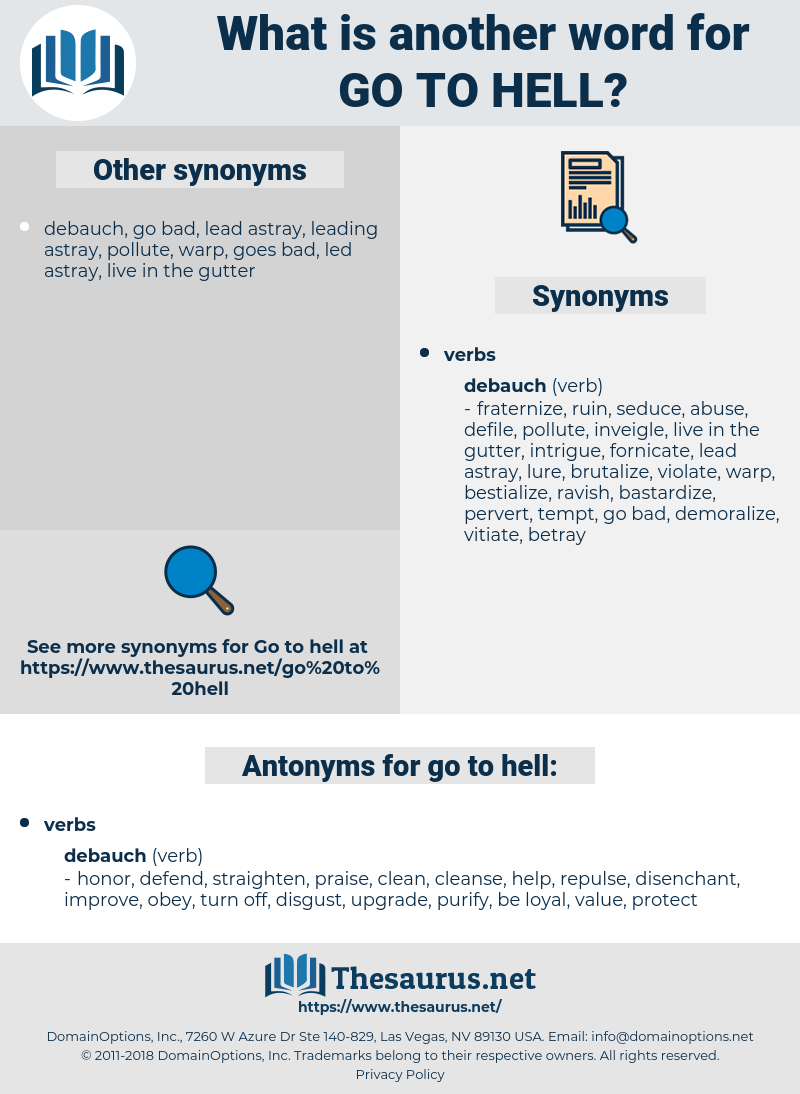 go to hell, synonym go to hell, another word for go to hell, words like go to hell, thesaurus go to hell