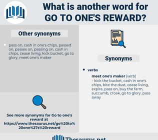 go to one's reward, synonym go to one's reward, another word for go to one's reward, words like go to one's reward, thesaurus go to one's reward